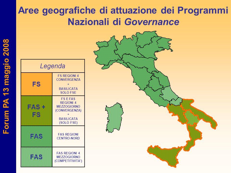 Aree geografiche di attuazione dei Programmi Nazionali di Governance Legenda FS FS REGIONI 4 CONVERGENZA + BASILICATA SOLO FSE FAS + FS FS E FAS REGIO