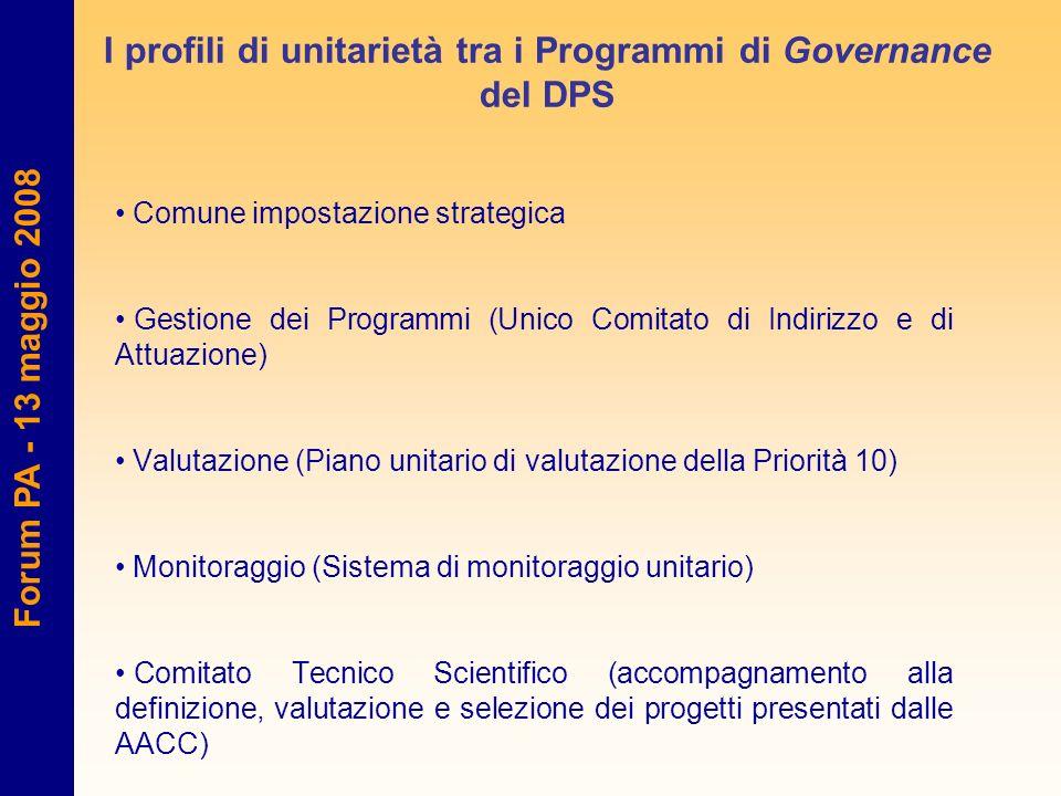 Forum PA - 13 maggio 2008 I profili di unitarietà tra i Programmi di Governance del DPS Comune impostazione strategica Gestione dei Programmi (Unico C