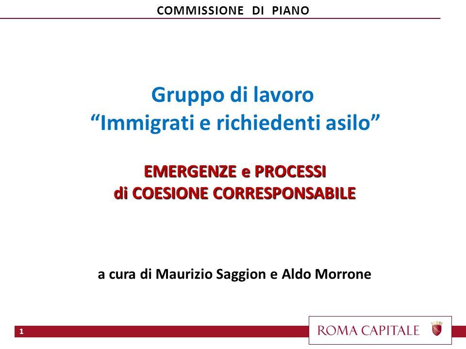 Gruppo di lavoro Immigrati e richiedenti asilo EMERGENZE e PROCESSI di COESIONE CORRESPONSABILE a cura di Maurizio Saggion e Aldo Morrone 1 COMMISSION