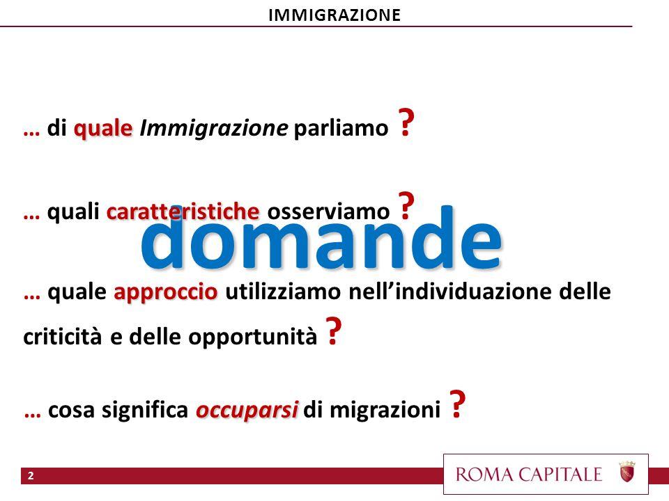 2 domande quale … di quale Immigrazione parliamo ? caratteristiche … quali caratteristiche osserviamo ? approccio … quale approccio utilizziamo nellin