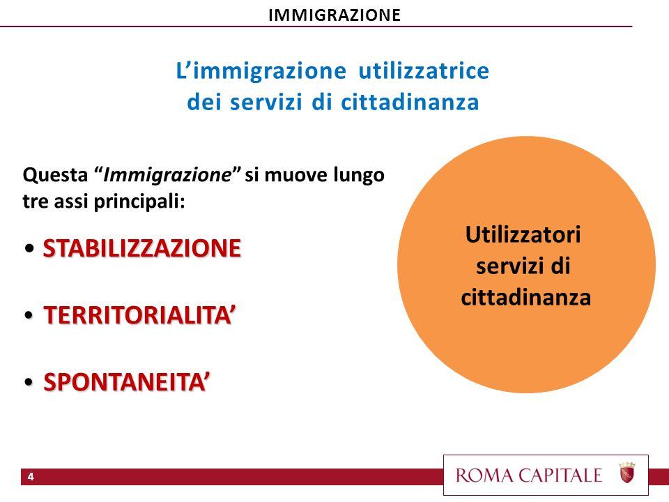 4 Questa Immigrazione si muove lungo tre assi principali: STABILIZZAZIONE TERRITORIALITA TERRITORIALITA SPONTANEITA SPONTANEITA Utilizzatori servizi d