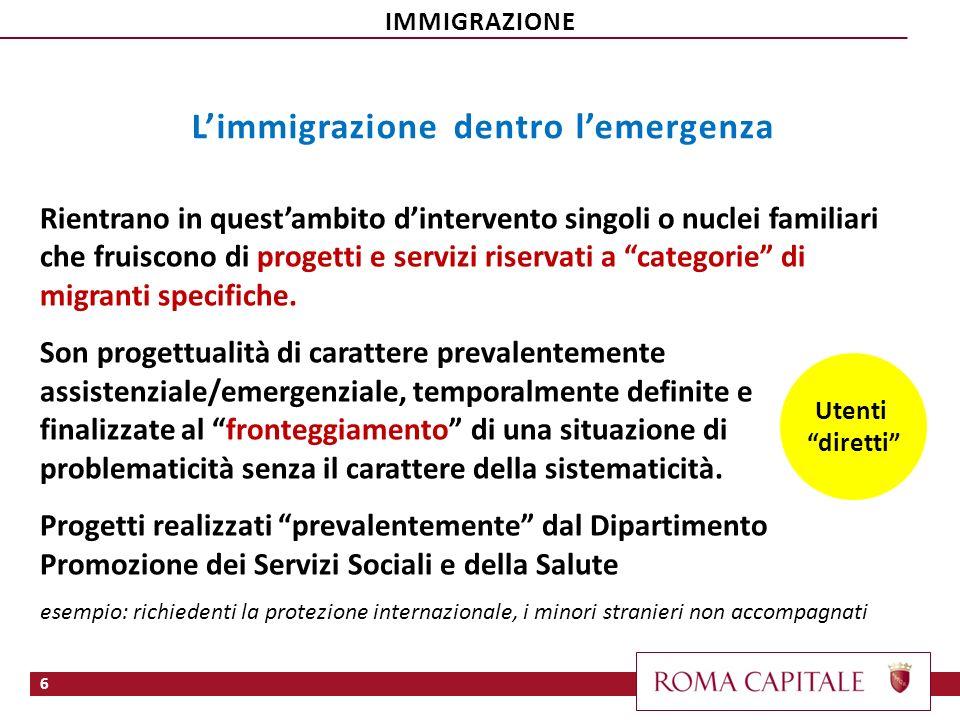 6 Utenti diretti Rientrano in questambito dintervento singoli o nuclei familiari che fruiscono di progetti e servizi riservati a categorie di migranti