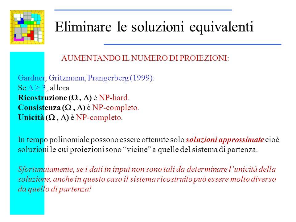 Eliminare le soluzioni equivalenti AUMENTANDO IL NUMERO DI PROIEZIONI: Gardner, Gritzmann, Prangerberg (1999): Se 3, allora Ricostruzione (, ) è NP-hard.