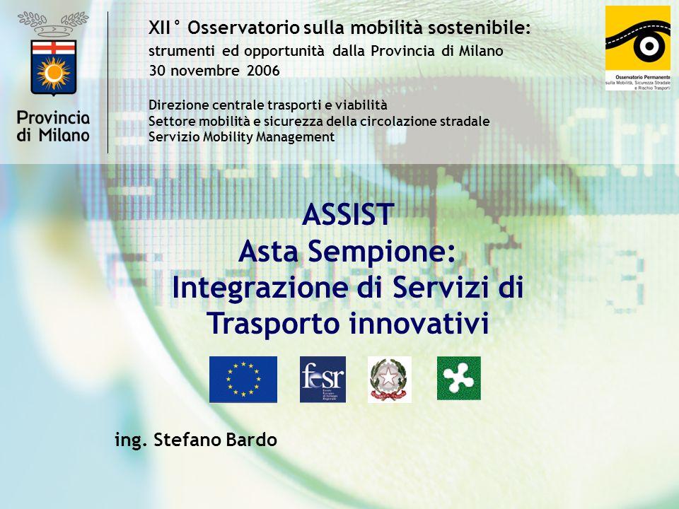 XII° Osservatorio sulla mobilità sostenibile: strumenti ed opportunità dalla Provincia di Milano 30 novembre 2006 ASSIST Asta Sempione: Integrazione d