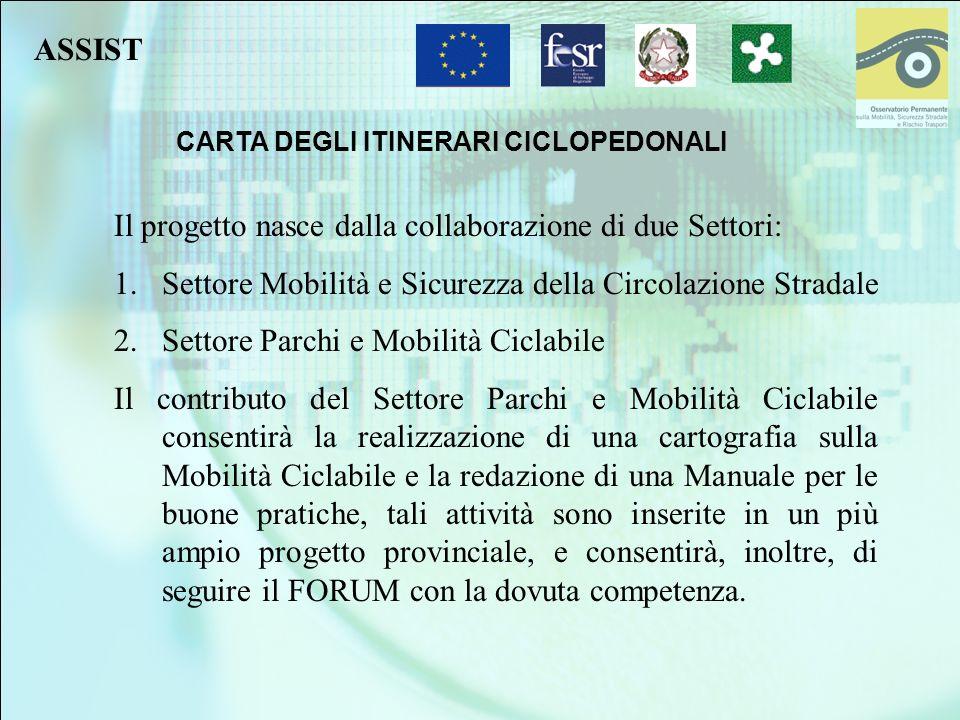 CARTA DEGLI ITINERARI CICLOPEDONALI Il progetto nasce dalla collaborazione di due Settori: 1.Settore Mobilità e Sicurezza della Circolazione Stradale