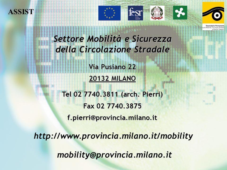 Via Pusiano 22 20132 MILANO Tel 02 7740.3811 (arch. Pierri) Fax 02 7740.3875 f.pierri@provincia.milano.it http://www.provincia.milano.it/mobility mobi