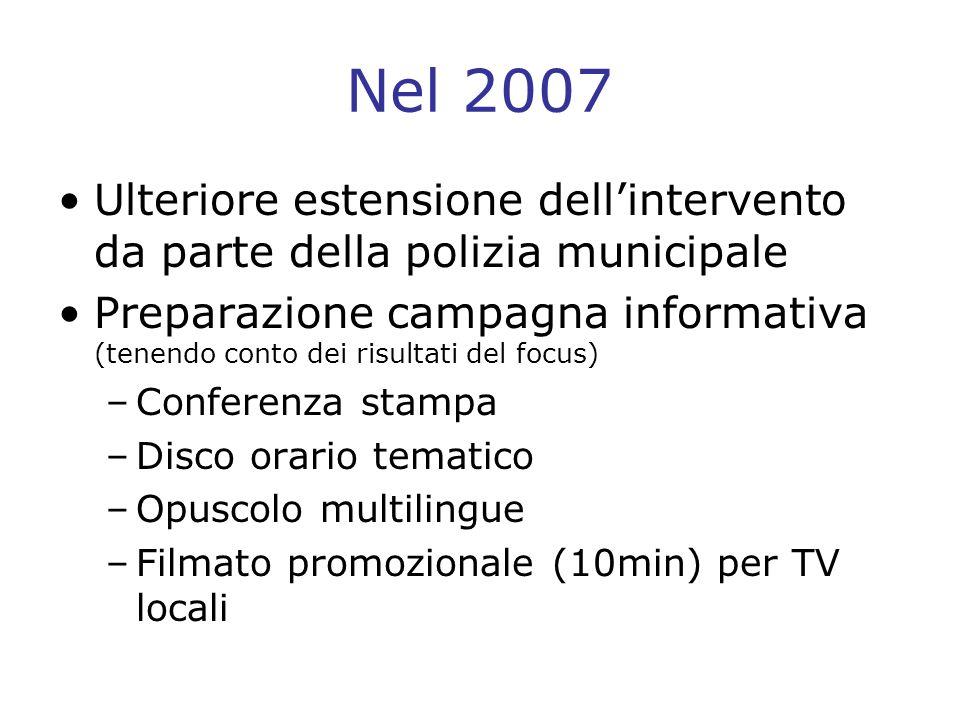 Nel 2008 Diffusione del materiale informativo: –Scuole materne –Polizia municipale