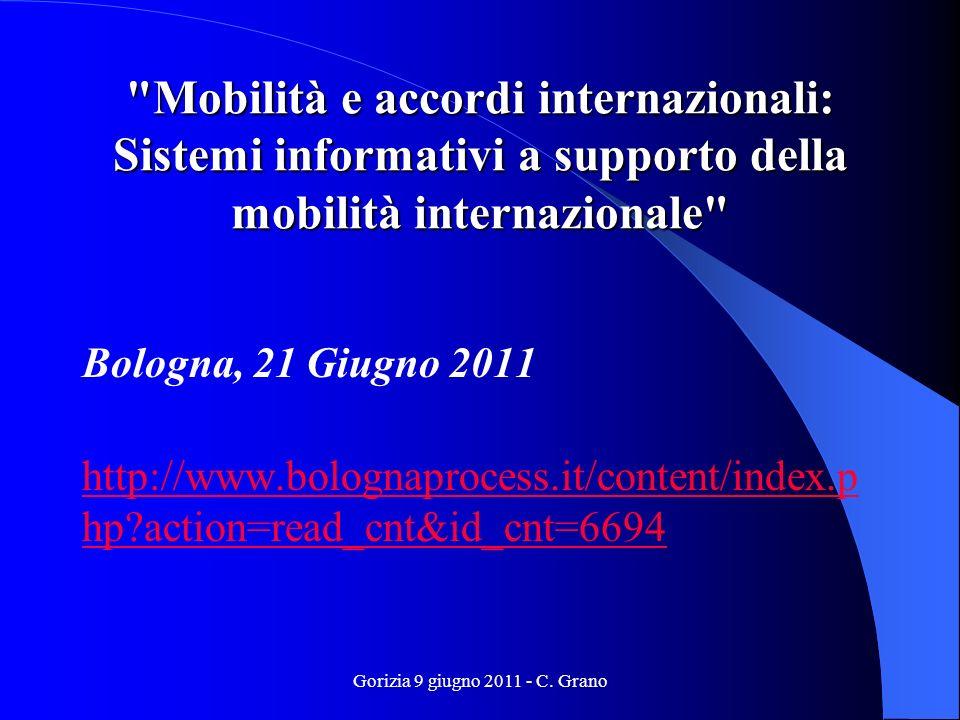 Mobilità e accordi internazionali: Sistemi informativi a supporto della mobilità internazionale Bologna, 21 Giugno 2011 http://www.bolognaprocess.it/content/index.p hp?action=read_cnt&id_cnt=6694 Gorizia 9 giugno 2011 - C.