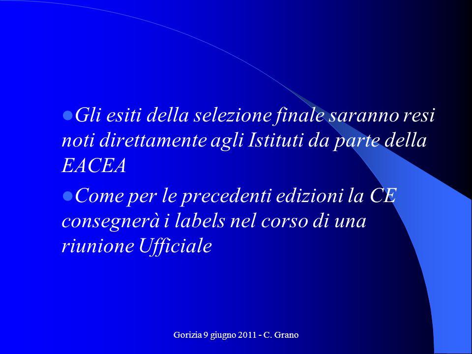Gorizia 9 giugno 2011 - C. Grano Gli esiti della selezione finale saranno resi noti direttamente agli Istituti da parte della EACEA Come per le preced