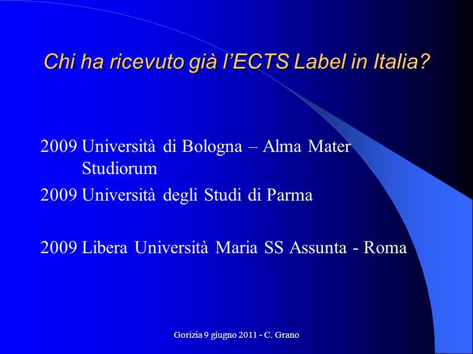 Gorizia 9 giugno 2011 - C.Grano Chi riceverà un ECTS o DS Label tra gli Istituti italiani.