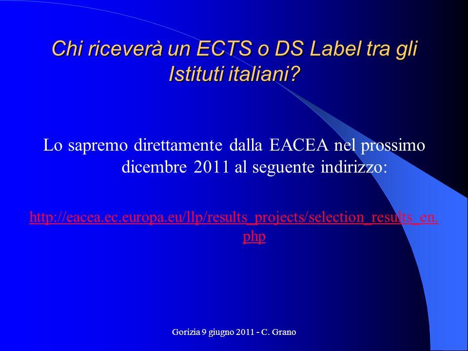 Gorizia 9 giugno 2011 - C. Grano Chi riceverà un ECTS o DS Label tra gli Istituti italiani.