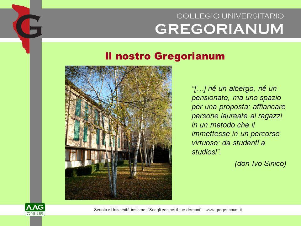 Il nostro Gregorianum […] né un albergo, né un pensionato, ma uno spazio per una proposta: affiancare persone laureate ai ragazzi in un metodo che li immettesse in un percorso virtuoso: da studenti a studiosi.