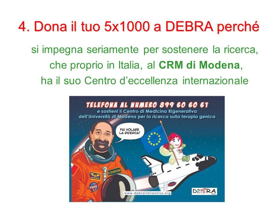 4. Dona il tuo 5x1000 a DEBRA perché si impegna seriamente per sostenere la ricerca, che proprio in Italia, al CRM di Modena, ha il suo Centro deccell