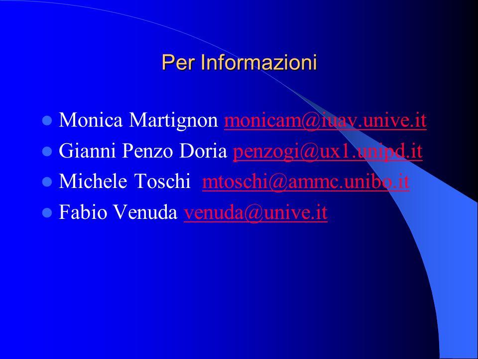 Per Informazioni Monica Martignon monicam@iuav.unive.itmonicam@iuav.unive.it Gianni Penzo Doria penzogi@ux1.unipd.itpenzogi@ux1.unipd.it Michele Tosch