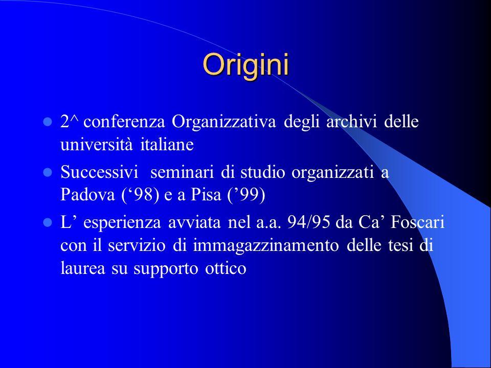 Origini 2^ conferenza Organizzativa degli archivi delle università italiane Successivi seminari di studio organizzati a Padova (98) e a Pisa (99) L es