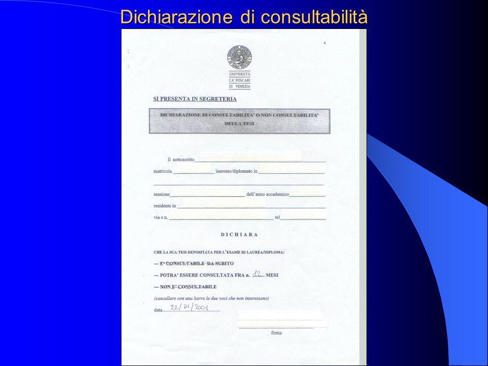 Dichiarazione di consultabilità