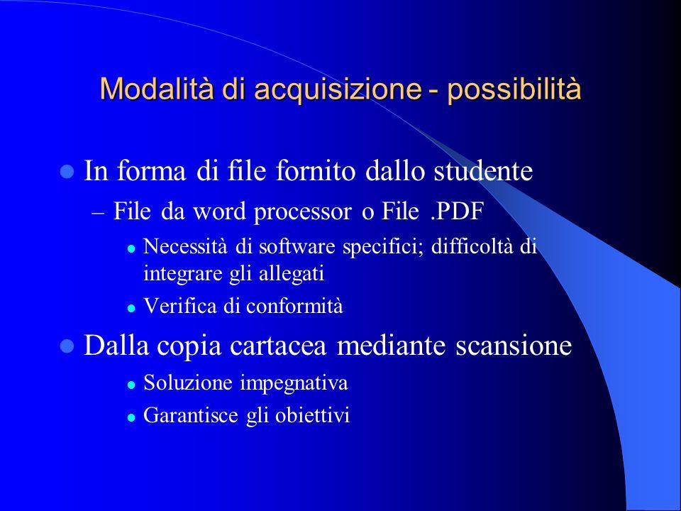 Modalità di acquisizione - possibilità In forma di file fornito dallo studente – File da word processor o File.PDF Necessità di software specifici; di
