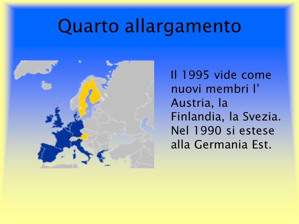 Quarto allargamento Il 1995 vide come nuovi membri l Austria, la Finlandia, la Svezia. Nel 1990 si estese alla Germania Est.