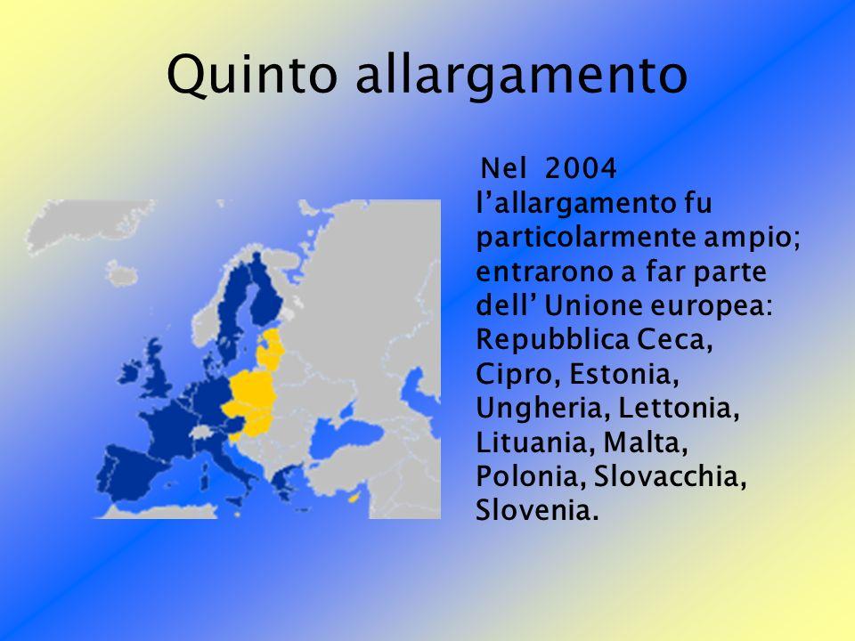Quinto allargamento Nel 2004 lallargamento fu particolarmente ampio; entrarono a far parte dell Unione europea: Repubblica Ceca, Cipro, Estonia, Unghe