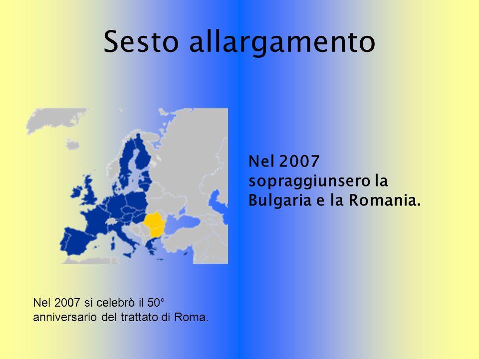 Sesto allargamento Nel 2007 sopraggiunsero la Bulgaria e la Romania. Nel 2007 si celebrò il 50° anniversario del trattato di Roma.