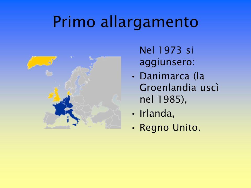 Primo allargamento Nel 1973 si aggiunsero: Danimarca (la Groenlandia uscì nel 1985), Irlanda, Regno Unito.