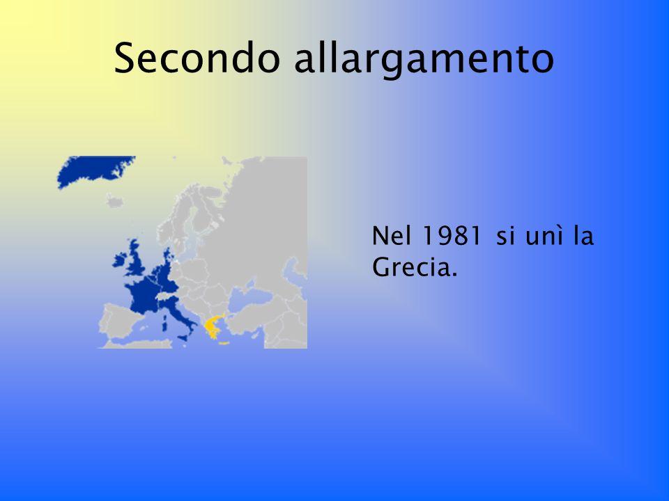 Terzo allargamento In questanno firmarono l Atto Unico Europeo che fu elaborato per: completare la costruzione del mercato interno, avviare un primo embrione di Unione politica.
