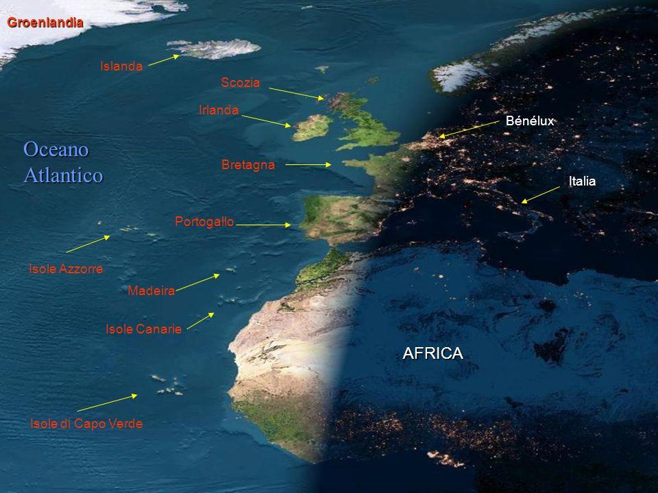 Bretagna Portogallo AFRICA Italia Islanda Oceano Atlantico Irlanda Scozia Isole di Capo Verde Isole Azzorre Isole Canarie Madeira Groenlandia Bénélux