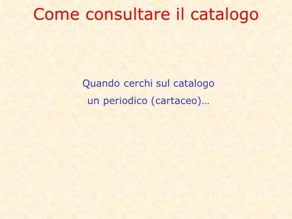Come consultare il catalogo Quando cerchi sul catalogo un periodico (cartaceo)…