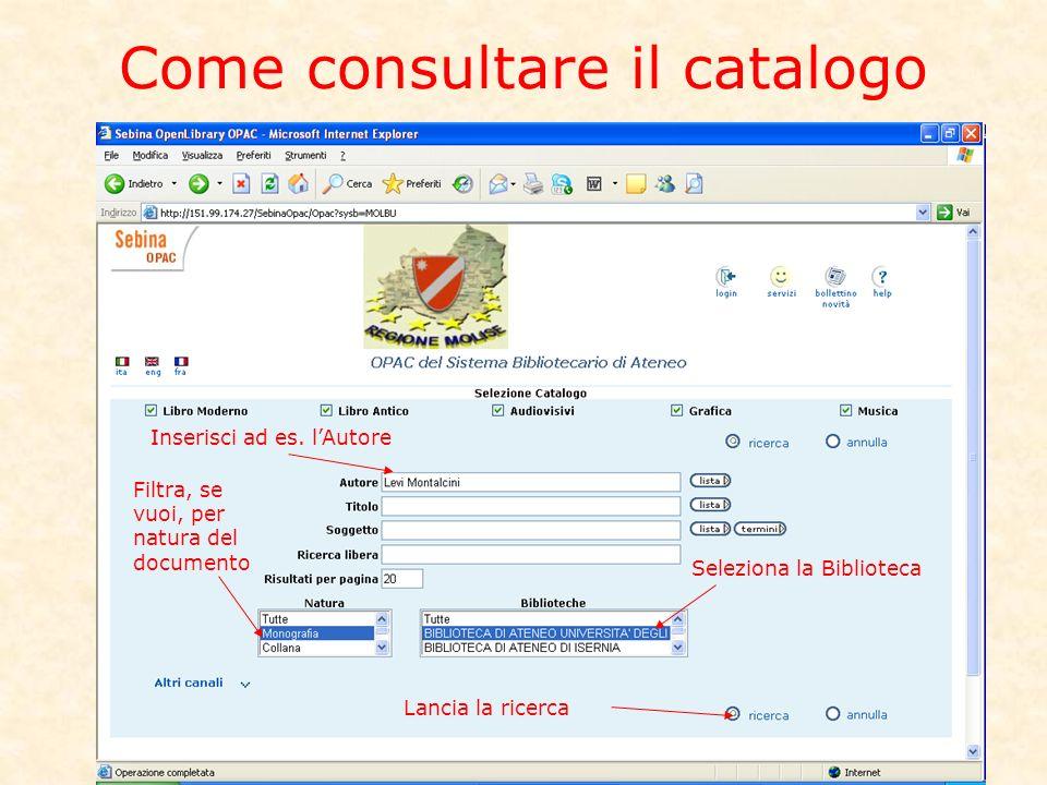 Come consultare il catalogo Inserisci ad es.