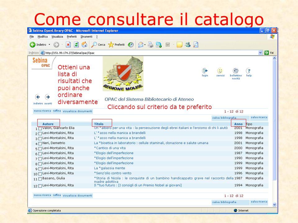 Come consultare il catalogo Ottieni una lista di risultati che puoi anche ordinare diversamente Cliccando sul criterio da te preferito
