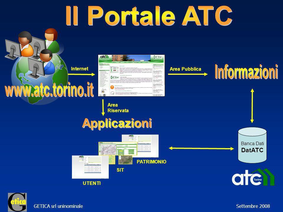 GETICA srl uninominale Settembre 2008 Internet SIT PATRIMONIO UTENTI Area Riservata Area Pubblica Banca Dati DatATC