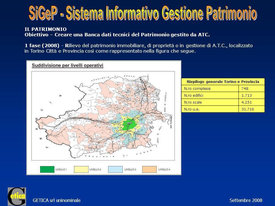 GETICA srl uninominale Settembre 2008 IL PATRIMONIO Obiettivo – Creare una Banca dati tecnici del Patrimonio gestito da ATC.