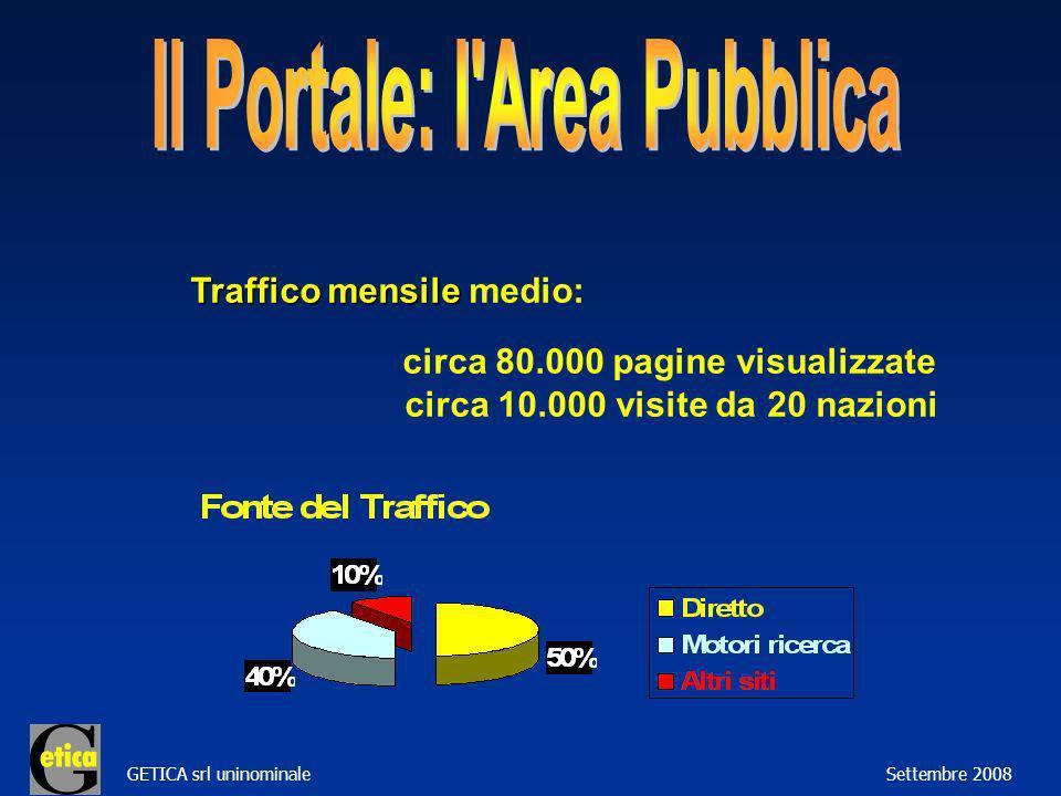 GETICA srl uninominale Settembre 2008 Traffico mensile Traffico mensile medio: circa 80.000 pagine visualizzate circa 10.000 visite da 20 nazioni