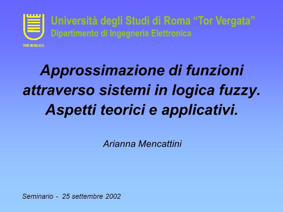 Approssimazione di funzioni attraverso sistemi in logica fuzzy. Aspetti teorici e applicativi. Arianna Mencattini Seminario - 25 settembre 2002 Univer