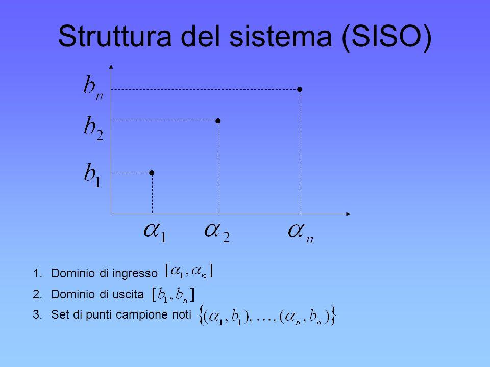 Struttura del sistema (SISO) 1.Dominio di ingresso 2.Dominio di uscita 3.Set di punti campione noti