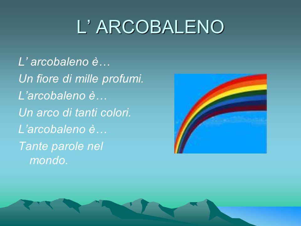 L ARCOBALENO L arcobaleno è… Un fiore di mille profumi. Larcobaleno è… Un arco di tanti colori. Larcobaleno è… Tante parole nel mondo.