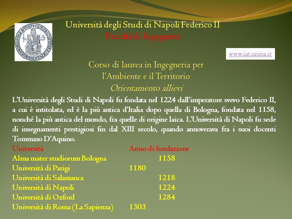 Università degli Studi di Napoli Federico II Facoltà di Ingegneria Corso di laurea in Ingegneria per lAmbiente e il Territorio Orientamento allievi LU