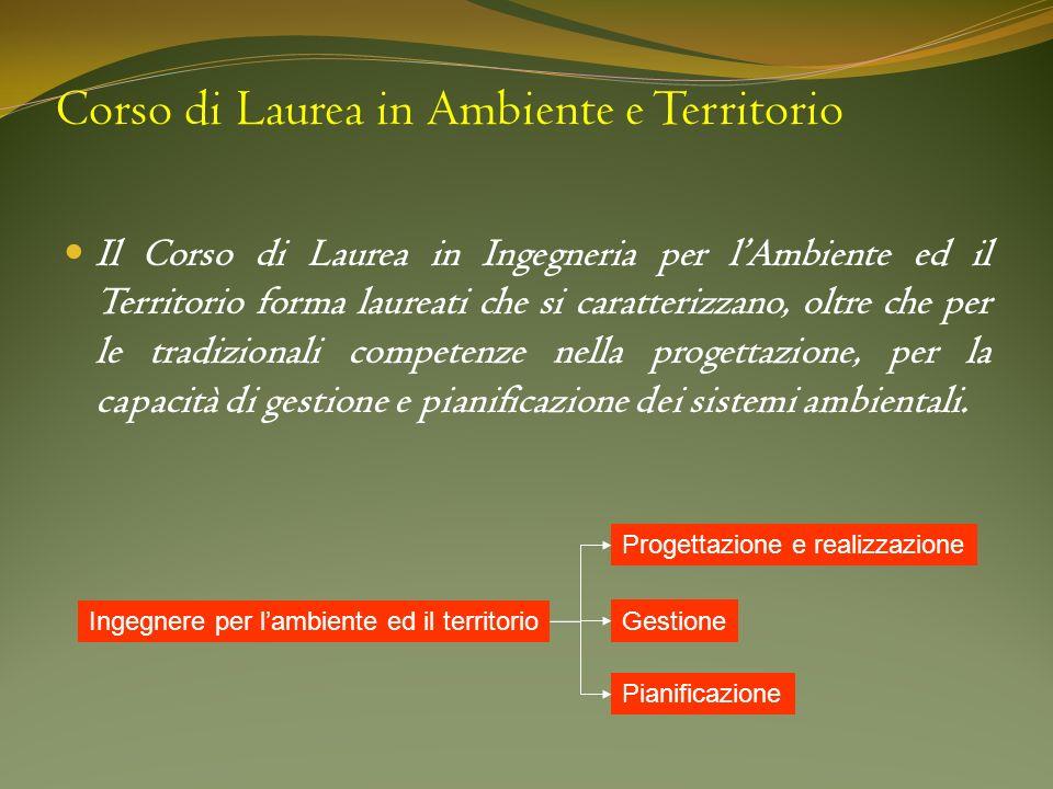 Corso di Laurea in Ambiente e Territorio Il Corso di Laurea in Ingegneria per lAmbiente ed il Territorio forma laureati che si caratterizzano, oltre c