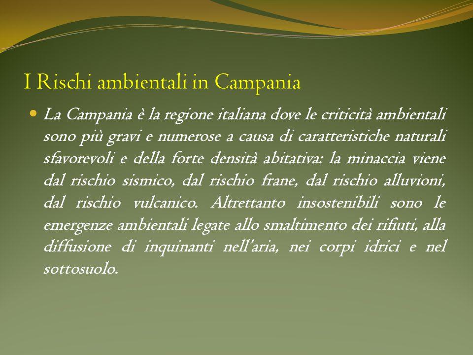 I Rischi ambientali in Campania La Campania è la regione italiana dove le criticità ambientali sono più gravi e numerose a causa di caratteristiche na
