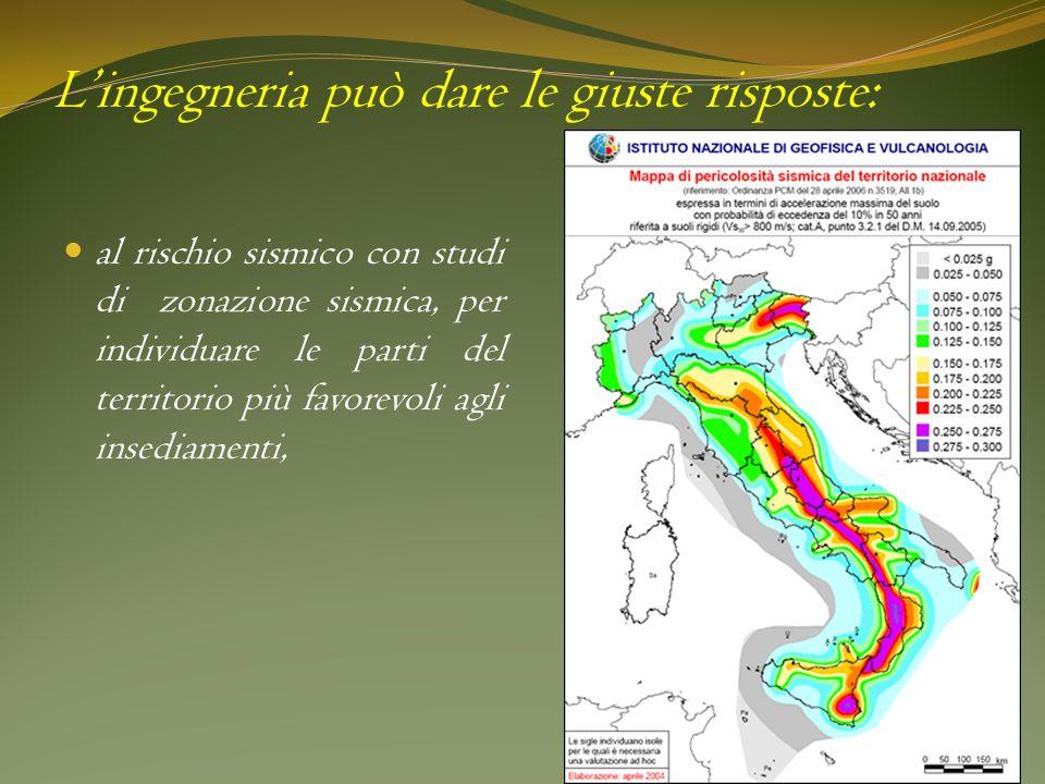 al rischio sismico con studi di zonazione sismica, per individuare le parti del territorio più favorevoli agli insediamenti, Lingegneria può dare le g