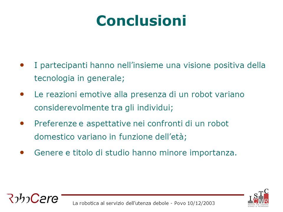 La robotica al servizio dell'utenza debole - Povo 10/12/2003 Conclusioni I partecipanti hanno nellinsieme una visione positiva della tecnologia in gen