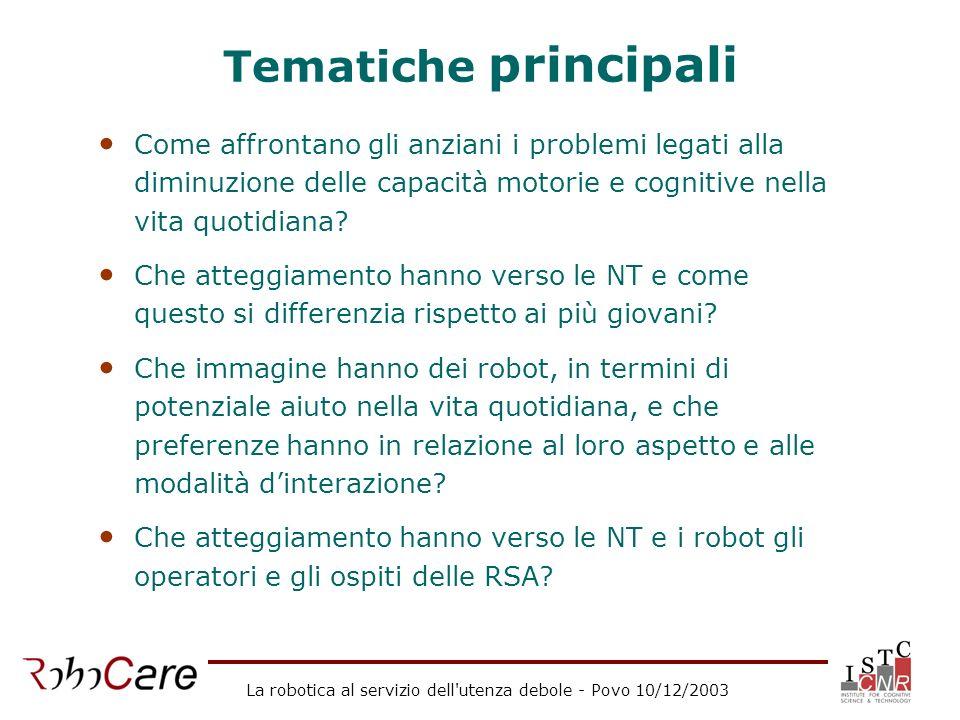 La robotica al servizio dell'utenza debole - Povo 10/12/2003 Tematiche principali Come affrontano gli anziani i problemi legati alla diminuzione delle