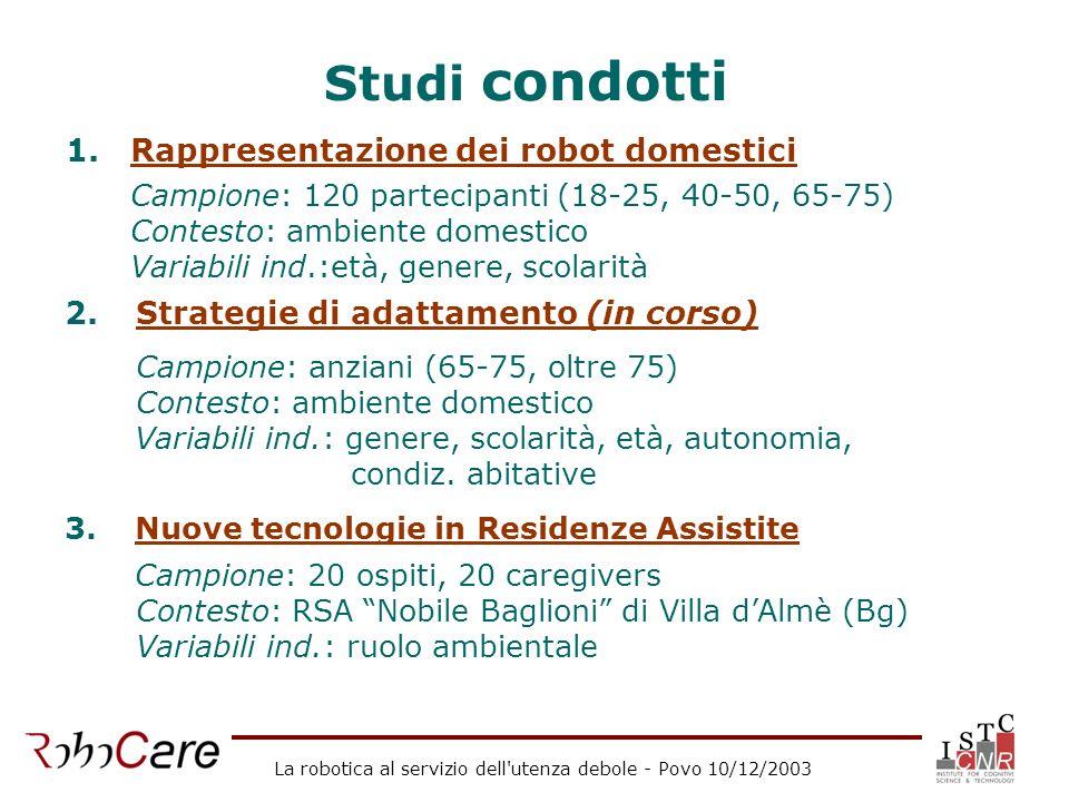 La robotica al servizio dell'utenza debole - Povo 10/12/2003 Studi condotti 1.Rappresentazione dei robot domestici Campione: 120 partecipanti (18-25,