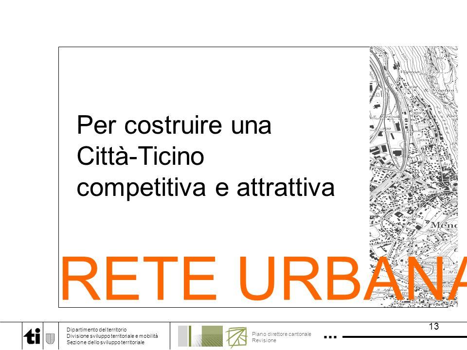 13 Per costruire una Città-Ticino competitiva e attrattiva RETE URBANA Dipartimento del territorio Divisione sviluppo territoriale e mobilità Sezione dello sviluppo territoriale Piano direttore cantonale Revisione