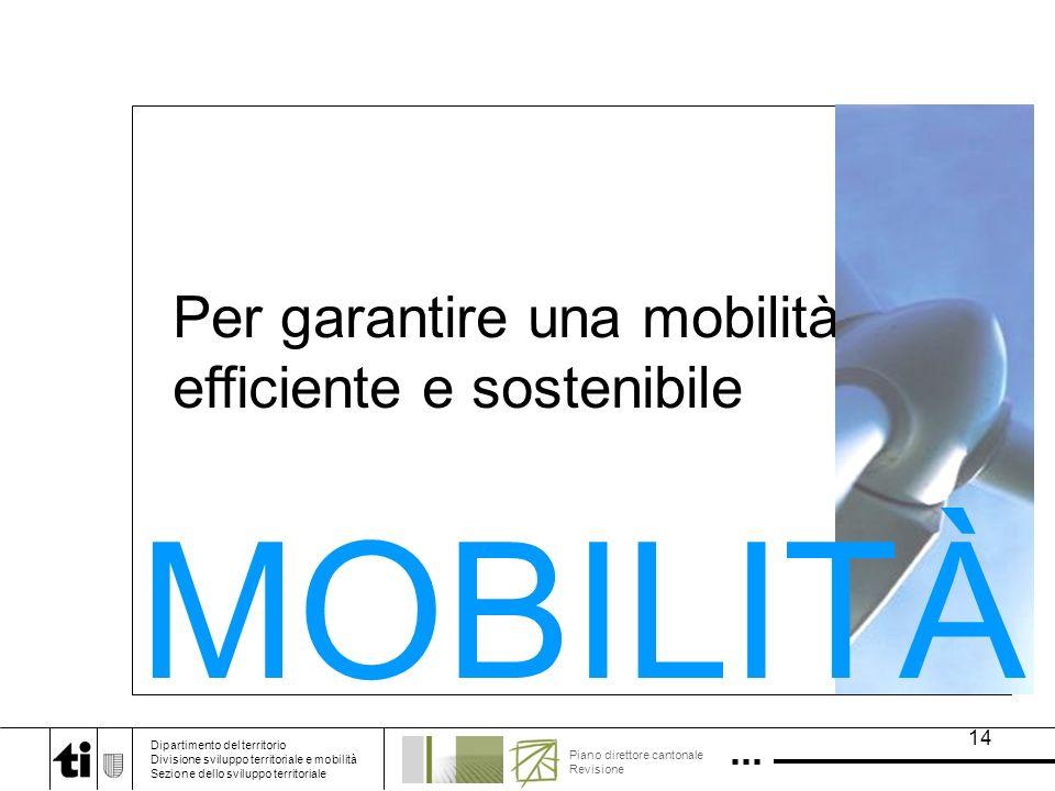 14 Per garantire una mobilità efficiente e sostenibile MOBILITÀ Dipartimento del territorio Divisione sviluppo territoriale e mobilità Sezione dello sviluppo territoriale Piano direttore cantonale Revisione