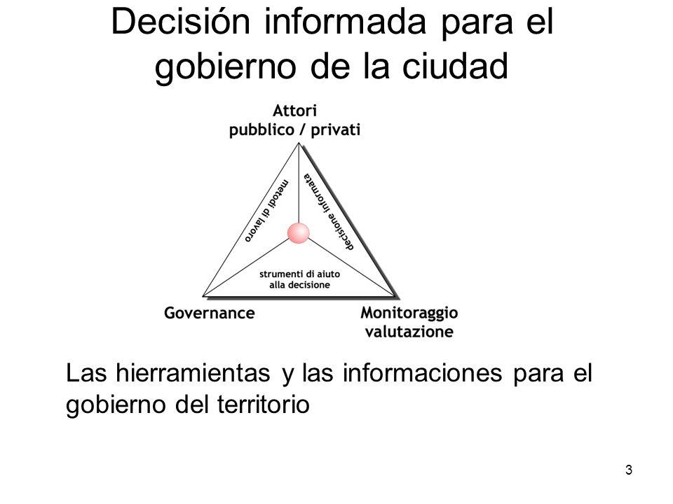 3 Decisión informada para el gobierno de la ciudad Las hierramientas y las informaciones para el gobierno del territorio