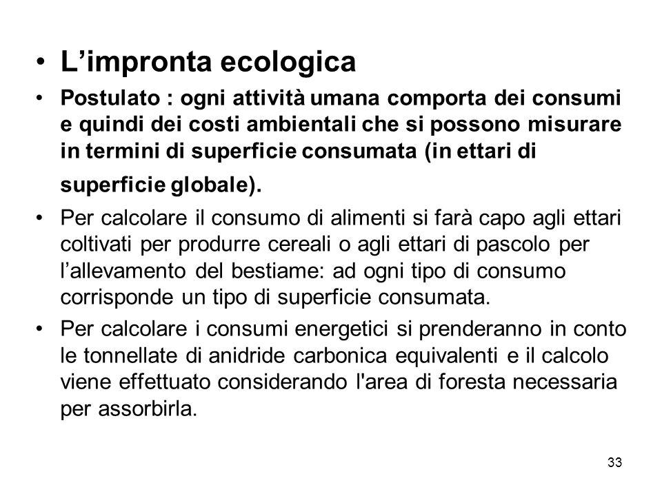 33 Limpronta ecologica Postulato : ogni attività umana comporta dei consumi e quindi dei costi ambientali che si possono misurare in termini di superficie consumata (in ettari di superficie globale).