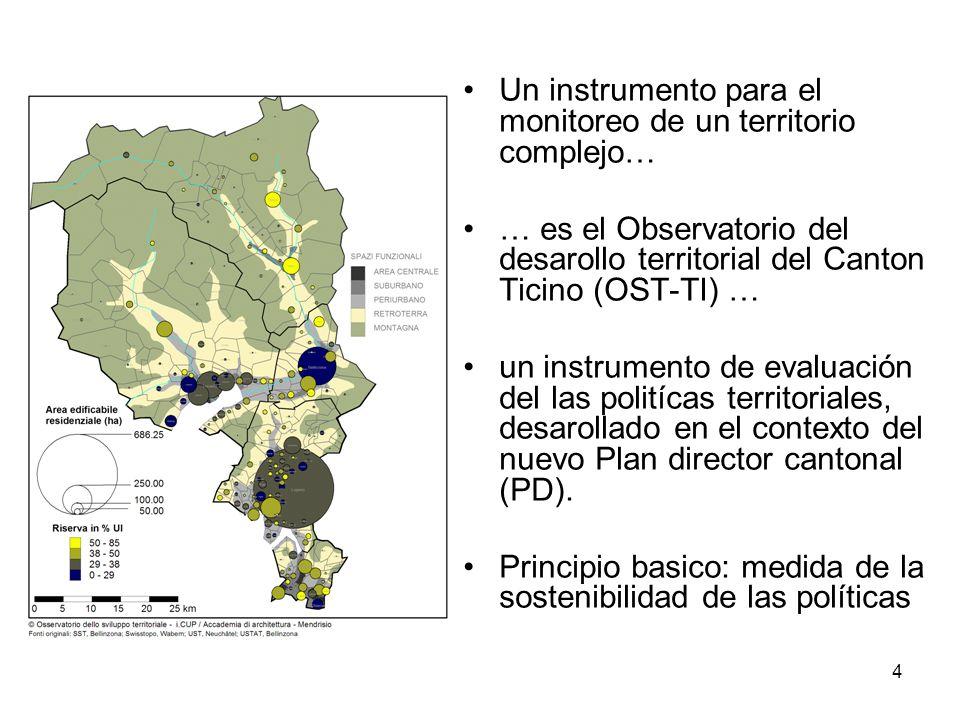 4 Un instrumento para el monitoreo de un territorio complejo… … es el Observatorio del desarollo territorial del Canton Ticino (OST-TI) … un instrumento de evaluación del las politícas territoriales, desarollado en el contexto del nuevo Plan director cantonal (PD).