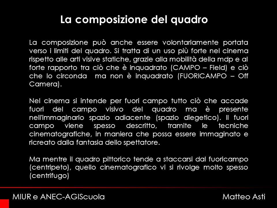 La composizione del quadro La composizione può anche essere volontariamente portata verso i limiti del quadro.