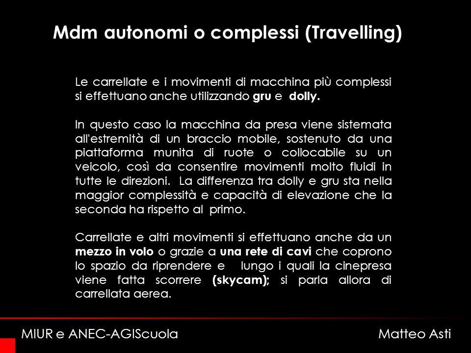 Mdm autonomi o complessi (Travelling) Le carrellate e i movimenti di macchina più complessi si effettuano anche utilizzando gru e dolly.